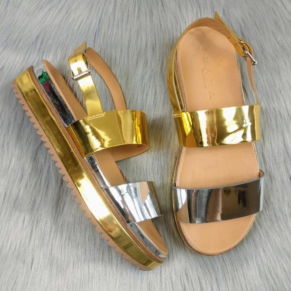 e04f5c3bfd95 Zara Trafaluc Metallic Gold Silver Platform Sandal.  M 5bdbd575a31c334ae342d866